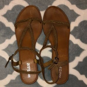 Matisse Brown Sandals with Braided Detail